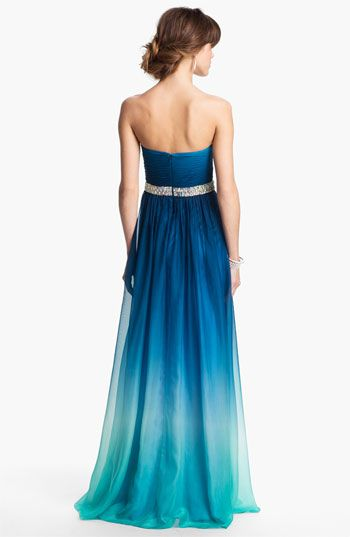 For a fancier wedding, ombre bridesmaid dresses... La Femme Embellished Ombré Chiffon Gown | Nordstrom