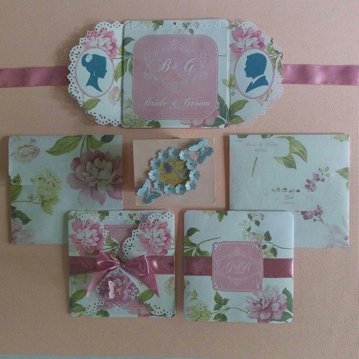 Old Rose Floral Gatefold Wedding Invitation Designed