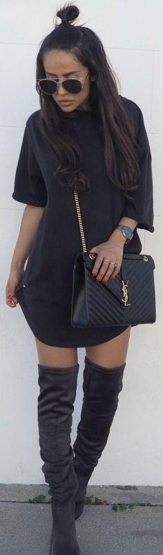 Sharareh Sophia Hosseini + wearing an oversized tee + true minimalist style + over the knee boots + YSL purse + vintage shades   Tee/Dress: Bikbok, Boots: Want My Look, Bag: YSL.