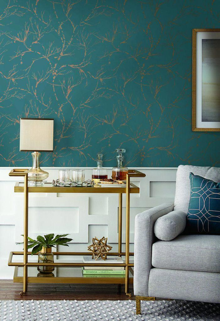 White Pine Wallpaper In Teal From Masterworks Collection By Ronald Red Burke Decor Summerli Wallpaper Living Room Teal Living Rooms Summer Living Room Decor