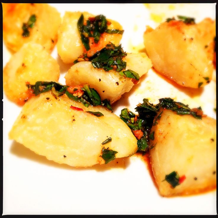 Delicious crispy potatoes with a spectacular Argentinian chimichurri sauce (recipe - Donna Hay).