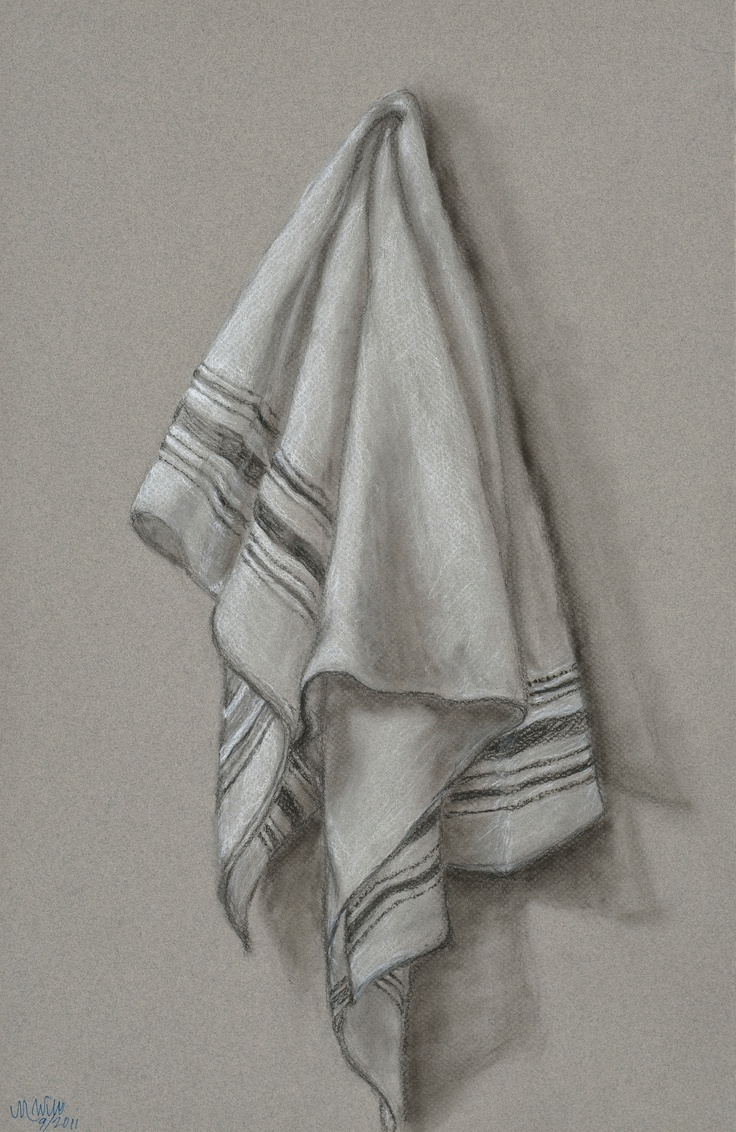 dish towel: charcoal/chalk/pan pastel. portraits at www.etsy.com/shop/thewolffden