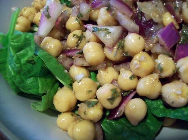 Chickpea and Spinach Salad with Cumin Dressing: 2 cans chickpeas; 2 ...