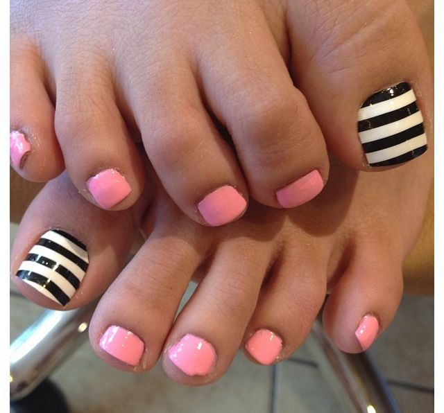 find this pin and more on what a great idea black and white strip nail art design pink toe