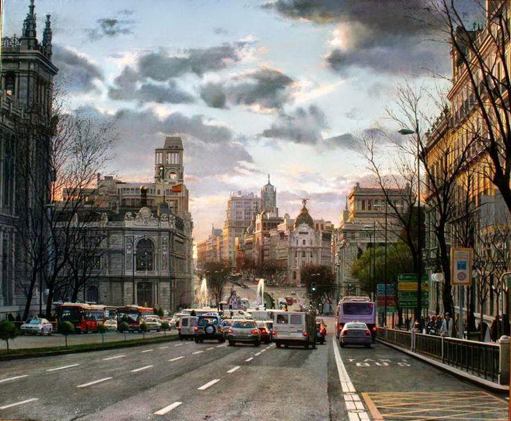 Pintura y Fotografía Artística : Pintura al Óleo de Modesto Trigo, Hiperrealismo Cuadros de Ciudades