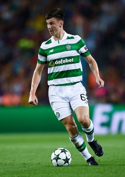 Keiran Tierney of Celtic FC runs with the ball during the UEFA Champions League Group C match between FC Barcelona and Celtic FC at Camp Nou on September 13, 2016 in Barcelona, Catalonia.