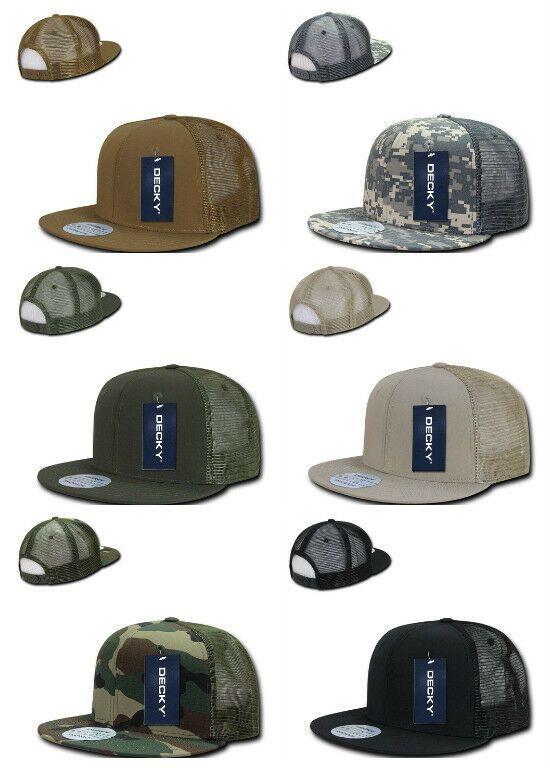 07f55e2759627 ACU Camo Black Khaki Green Navy Flat Bill Trucker Ripstop Baseball Ball Cap  Hat  Decky  TruckerHat