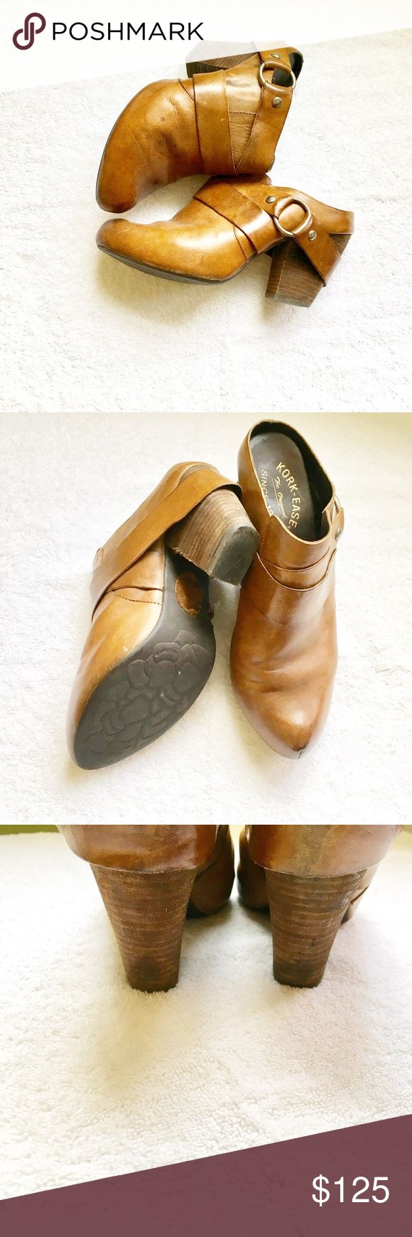 KORK EASE Leather slip ones,  Size 8.5 KORK EASE slip ones,  Size 8.5 Leather upper and lining.  Cognac brown with silver colored buckle.  Very gently used.   Hardly worn size 8.5 Kork-Ease Mules / Clogs. Originally purchased from Nordstrom.KORK EASE  MSRP $225 FROM NORDSTROM Kork Ease Shoes Mules & Clogs
