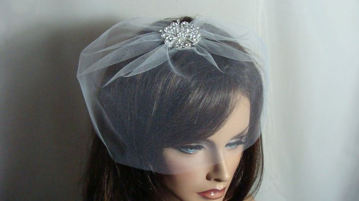 Petite 8 inch Bridal Tulle  Birdcage Veil  White  Ivory Pink Black
