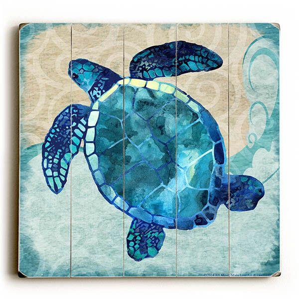 Sea Turtle by Artist Jill Meyer Wood Sign