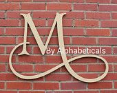 Initial Monogram Wall Decor Wooden Monogram Letters Wall Letters Script Baby Name Nursery Art Alphabeticals  (Click < > for + styles.)