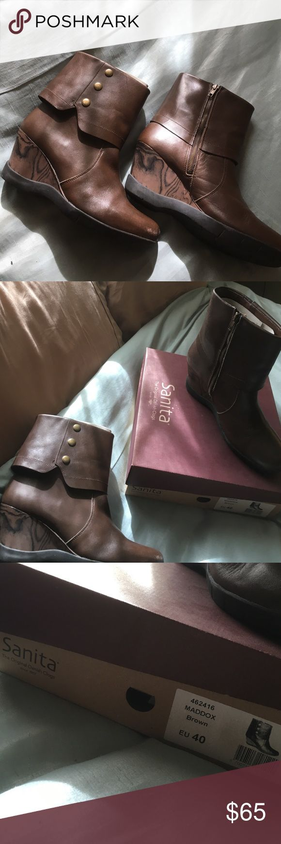 Sanita Maddox Brown Leather Boot EUC Brown Wedge Boot from Sanita. Inner zipper and outer button detail. Minor scuffs on toes, would probably disappear with some shoe polish. Sprayed with leather protection prior to wear. Little to no sole wear. Comes with all original packaging. Sanita Shoes Heeled Boots