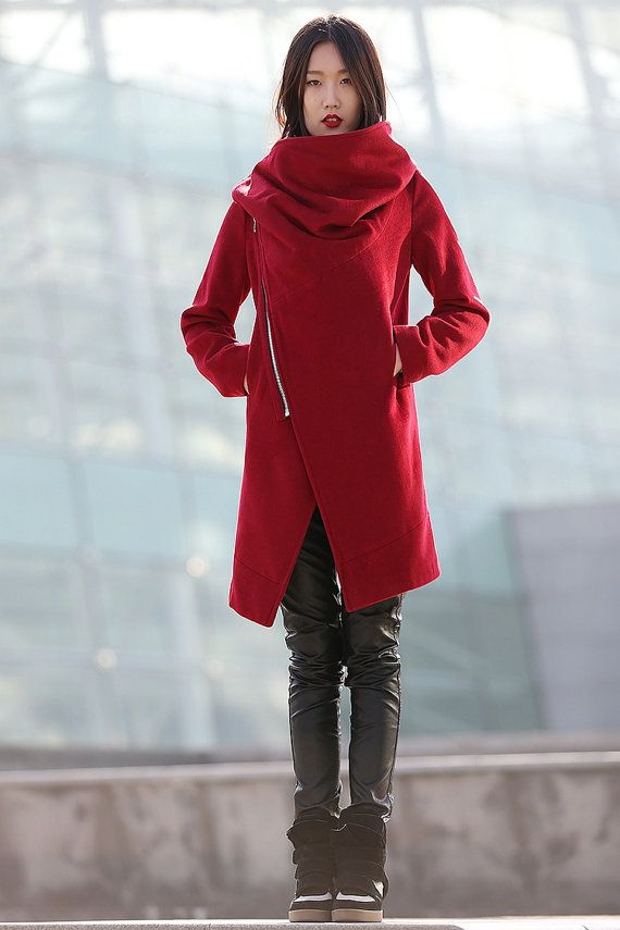 100% cashmere red jacket  winter coats for women-CF065
