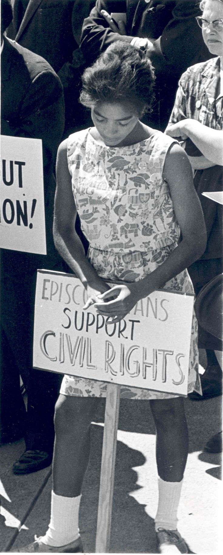 Protester at the March on Washington, March 18, 1963    The Afro-Anglican Archives are part of the Archives' mission to acknowledge under examined aspects of the Church's spiritual and cultural heritage, drawing on evidence of its continuing evangelization to people of color and the descendants of the African diaspora. Copyright 2011. The Archives of the Episcopal Church (DFMS)