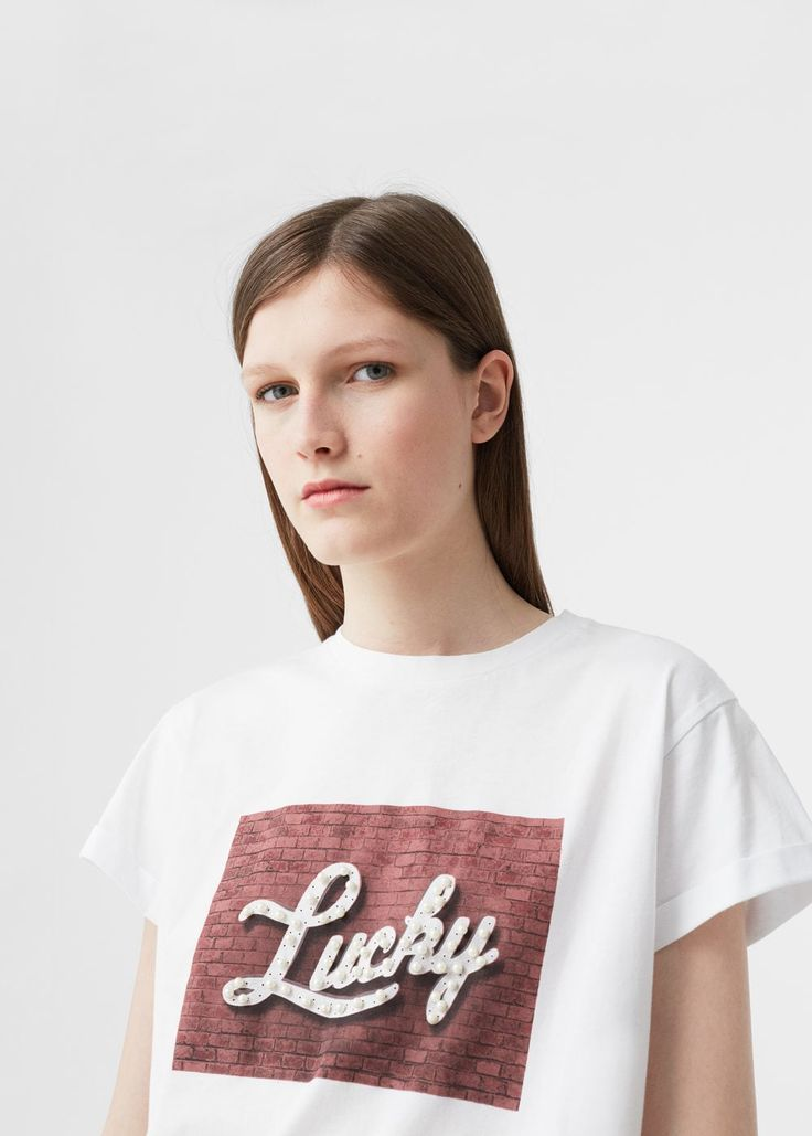 T-shirt perles message | MANGO