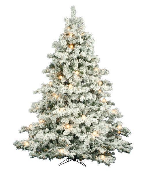 Flocked Alaskan Full Pre Lit Christmas Tree The Pre Lit