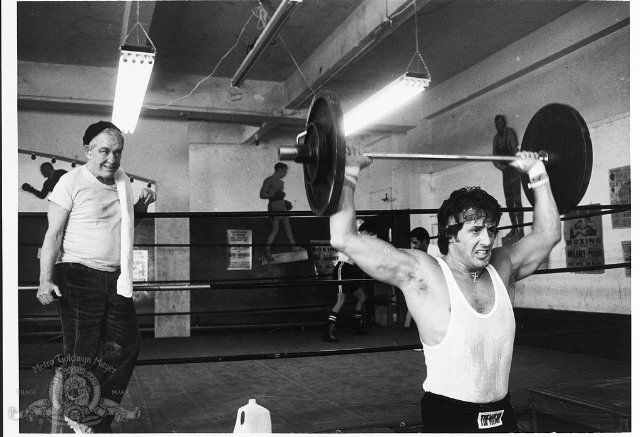 Sylvester Stallone and Burgess Meredith in Rocky II