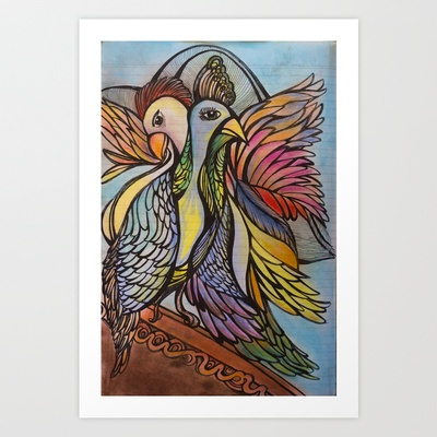 Love birds Art Print by Valerie Parisius - $17.00 www.valerieparisius.com