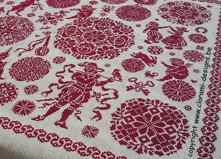 Red cross stitch Viva la Vida Sampler from Clorami Designs.  www.clorami-designs.be