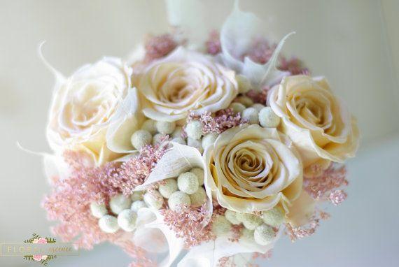 Preservado de bebes color rosa y rosado champán respiración ramo, ramo de novia, bouquet de las damas de honor, marfil, champán y rosa flores secas