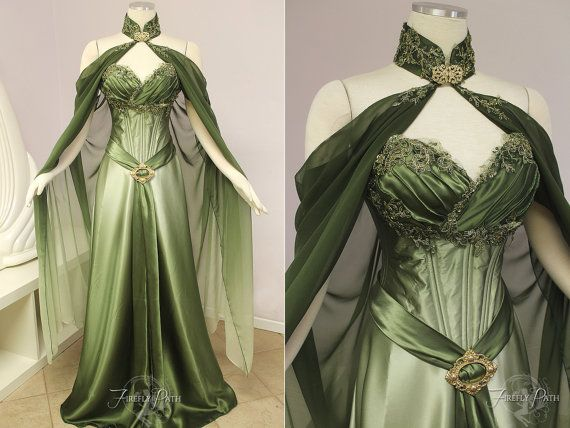 ~Elven Bridal Gown~ This Elven Bridal Gown is for the bride who desires an enchanting, elegant Woodland look for their wedding! Gown- The luxurious