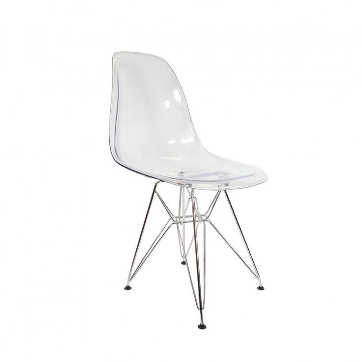 Cadeira Eiffel Dsr Eames Sem Braço Policarbonato Pés Cromado