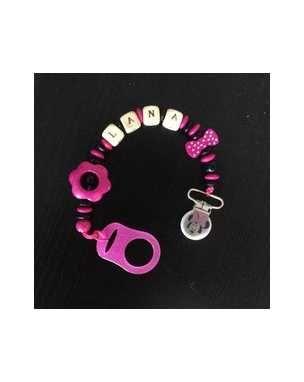 Attache tétine perle bois attache sucette noir et rose personnalisé theme minni LANA