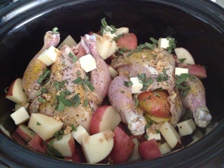 2 Cornish game hens, rub w/olive oil, season w/salt, pepper & lemon pepper. 1 can of chicken broth, slice potatoes add butter & fresh sage. Cook in crockpot on high for 4 hrs. It will fall off the bone! I made a side salad & dinner is served!