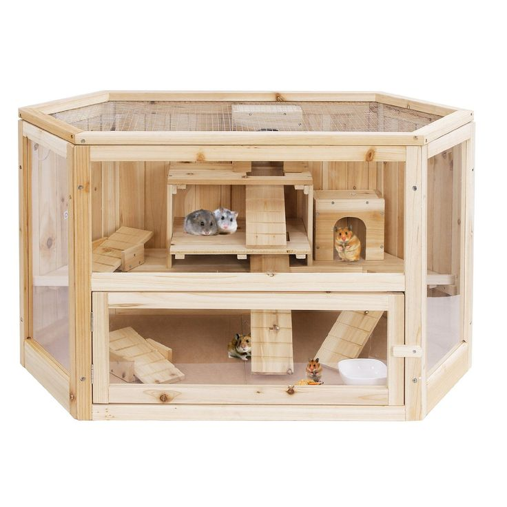 Songmics xl wooden hamster cage guinea rodent house mice for Wooden guinea pig cage