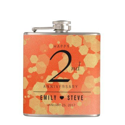 Elegant 2nd Garnet Wedding Anniversary Celebration Hip Flask - red gifts color style cyo diy personalize unique