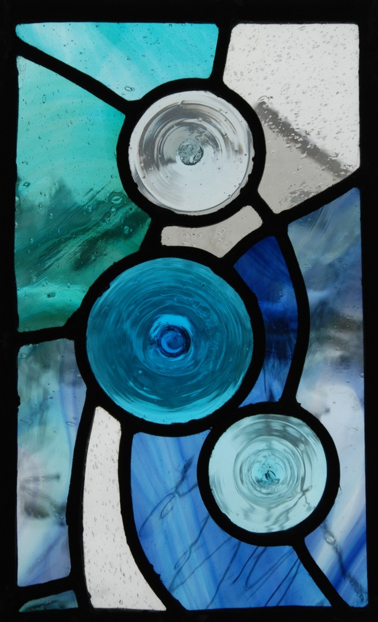 Stained glass roundels panel by James Cockerill of Halt Glass, Old Woking, England