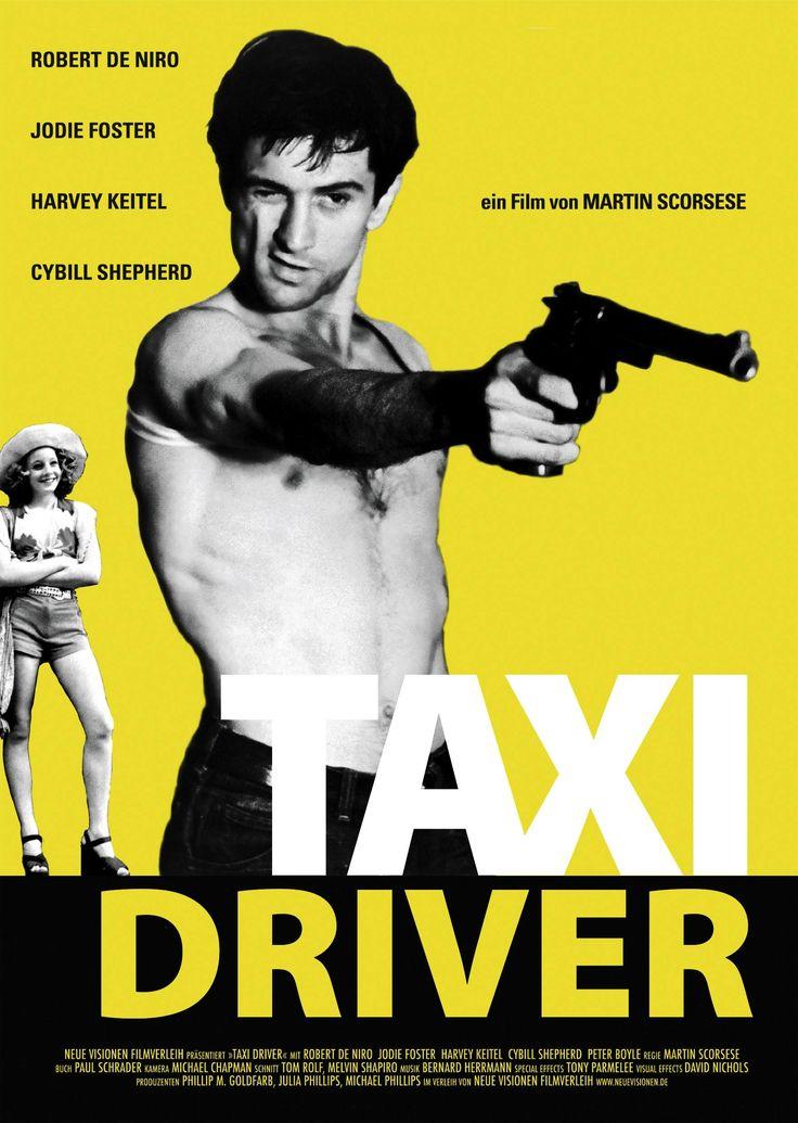 Taxi Driver. Dir. Martin Scorsese    El filme está ambientado en Nueva York, poco después de que terminara la guerra de Vietnam, y está protagonizado por Robert De Niro, quien interpreta a Travis Bickle, un excombatiente solitario y mentalmente inestable que comienza a trabajar como taxista, incorporándose a la turbia vida nocturna de la ciudad.