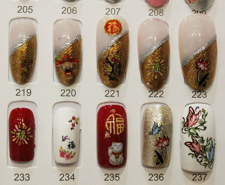 Designed CNY nail samples are for the customers to choose any one of them for their nails.
