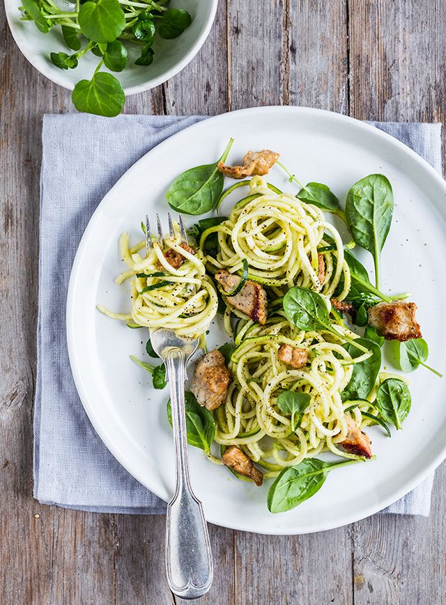 'spaghetti' squash with parsley pesto and stir-fried marinated pork