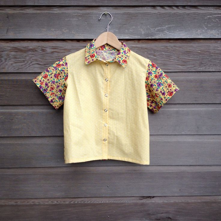 Girls retro bowling shirt / Flowered hipster shirt / funky yellow party shirt / rockabilly shirt / Made to order by LittleFieldBirch on Etsy