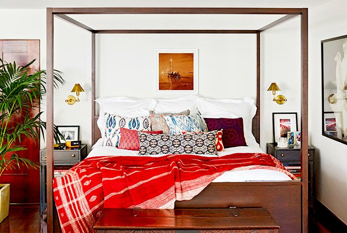 Jessica Alba's eclectic bedroom with a mix of patterns and textures