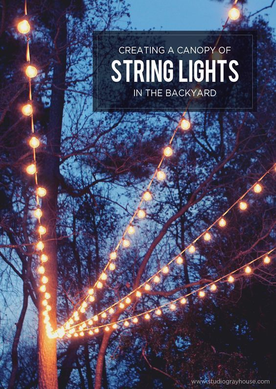 A gorgeous backyard setting is easy to achieve with a few string lights. Create your own string light canopy for a dreamy effect, perfect for dinner parties or just hanging out.