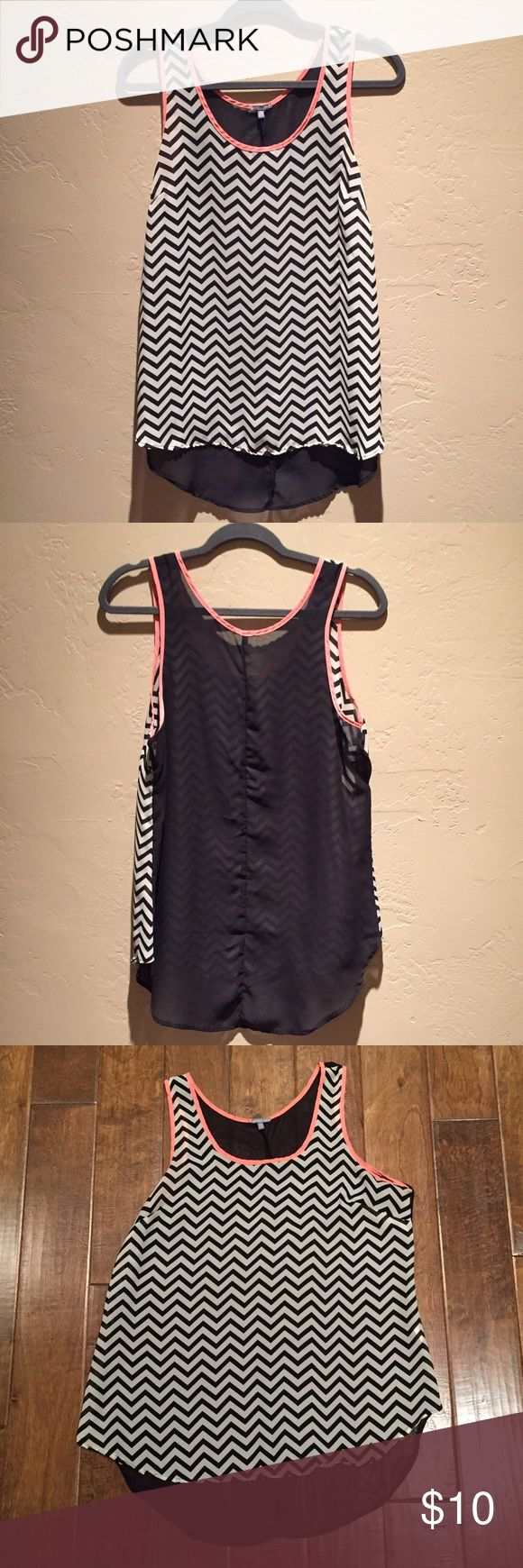NWOT chevron top Chevron chiffon tank top with pink trim, never worn Charlotte Russe Tops Tank Tops