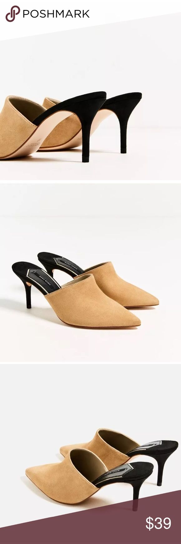 Zara Leather Backless High Heel Mules 💯% real leather! Comfortable and easy to wear! Zara Shoes Mules & Clogs