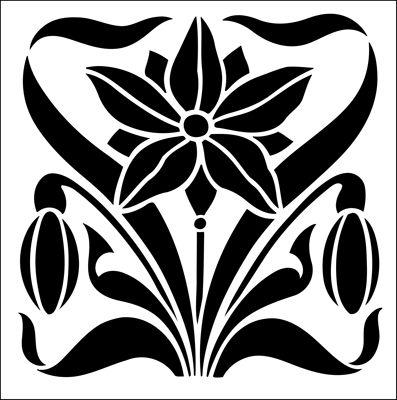 Tile No 18 stencil from The Stencil Library ART NOUVEAU range. Buy stencils online. Stencil code DE221.