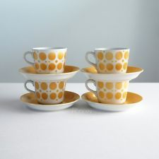 4 ARABIA FINLAND Yellow Dot Design Cup and Saucer Sets Midcentury Style