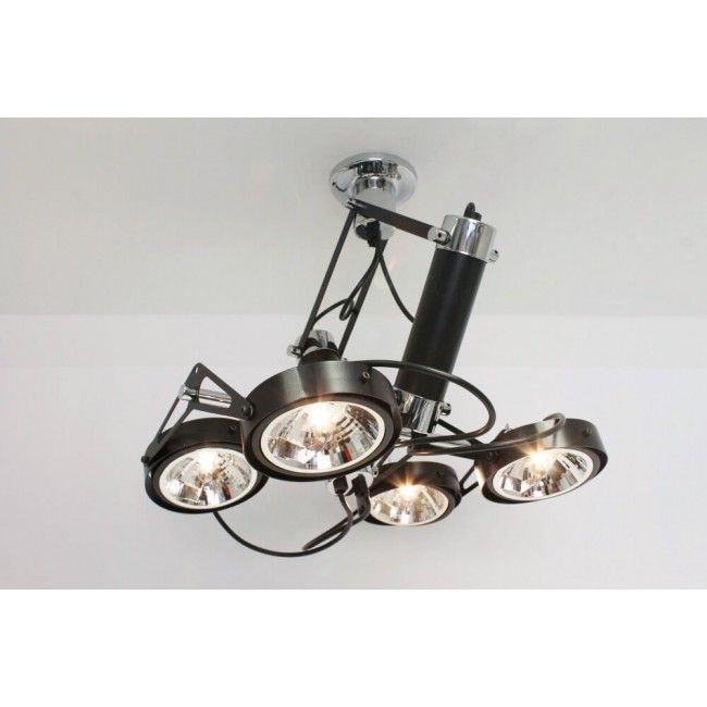 Strakke industriële plafondlamp LUXOR | 4-lichts zwart