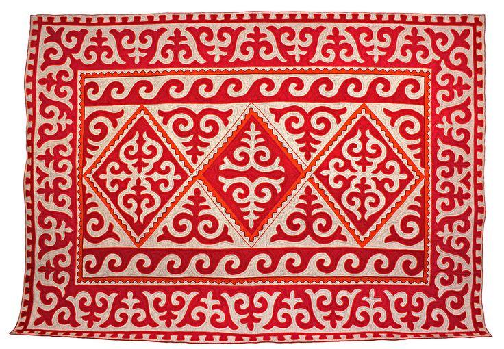 Orange, red and white room-size Shyrdak rug from Felt 2.65m x 3.8m feltrugs.co.uk