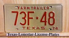 """CLASSIC NOS 1974 TEXAS """"FARM TRAILER"""" LICENSE PLATE 48 (UNUSED/UNISSUED)"""