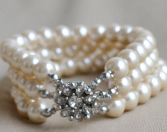 Champán Perla pulsera, brazalete de perlas de vidrio, perla, pulsera novia, perla 3 filas pulsera, Dama de honor, joyería
