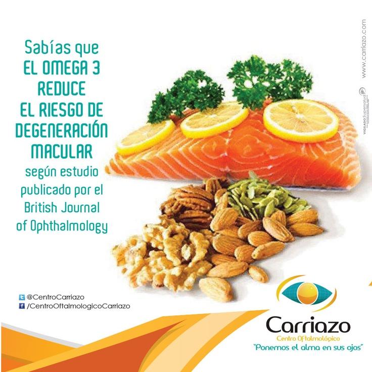 Según estudio publicado por el Diario Británico de oftalmología el OMEGA 3 conocido inicialmente como Vitamina F reduce el riesgo de Degeneración Macular y puede encontrarse en:  1. Los tejidos de ciertos pescados (salmón, sardina y peces de agua fría). 2. Algunas fuentes vegetales como las semillas de lino, chía (salva hispánica), el sacha inchi (variedad de maní), los cañamones y las nueces.  Centro Oftalmológico Carriazo #SaludVisual #ConBuenosOjos #CuidaTuVista #oftalmologia