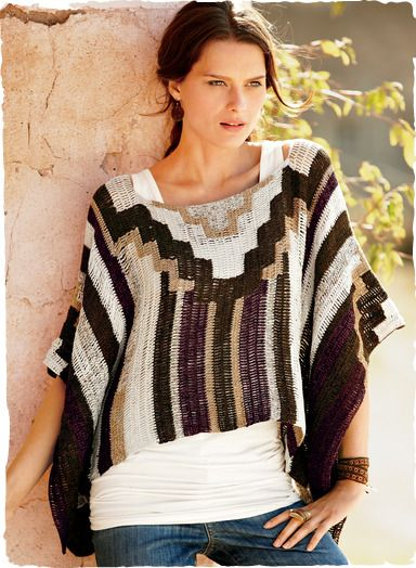 Pre-Columbian step motifs scale the front and back of this work-of-art poncho in tweeded earth tones. Entirely handcrocheted of pima, the cropped and boxy silhouette has a wide scoop neck and loose, tacked sleeves.