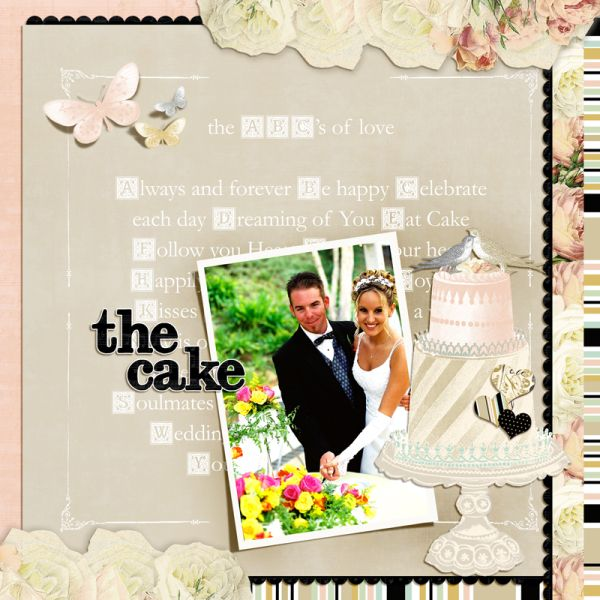 Websters Pages In Love collection in digital format scrapbook layout wedding