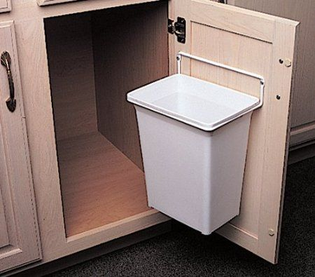 """Door-Mounted Kitchen Garbage Can"" - could be wall mounted in bathroom - There are also commercial ones that mount between wall studs"