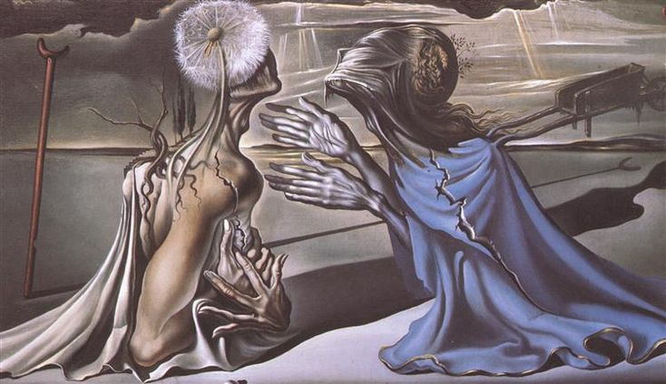 Tristan and Isolde, 1944 by Salvador Dali. Surrealism. literary painting. Private Collection